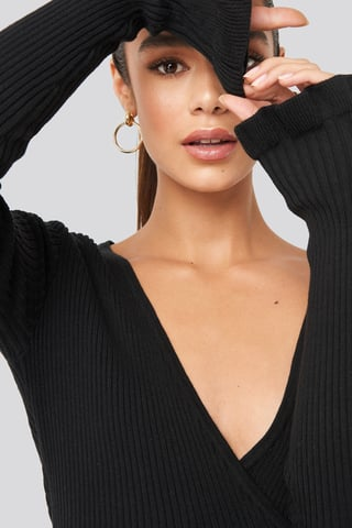 Black Ribbed Tied Top