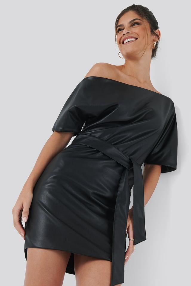 Off Shoulder PU Dress Black
