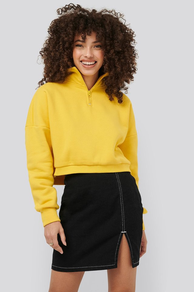 Contrast Seam Denim Skirt Black