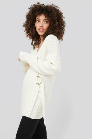 White Ribbed Knitted Cardigan