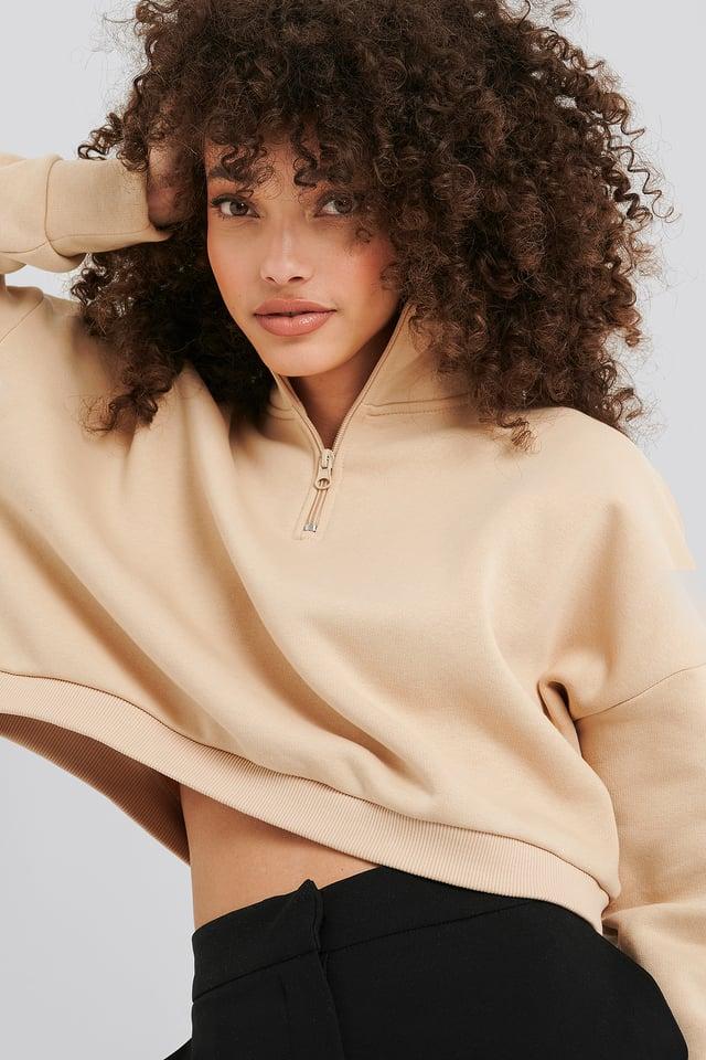 Beige Zipper Jersey Sweater