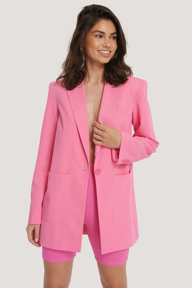 Blazer Surdimensionné À Épaules Rembourrées Pink