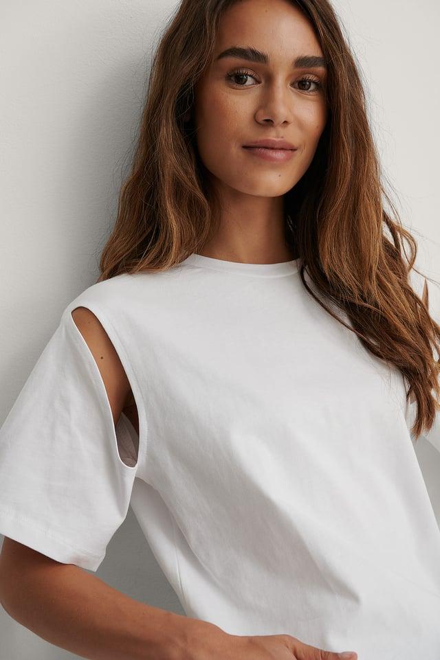 White Biologique Tee-shirt Surdimensionné Découpé Aux Emmanchures