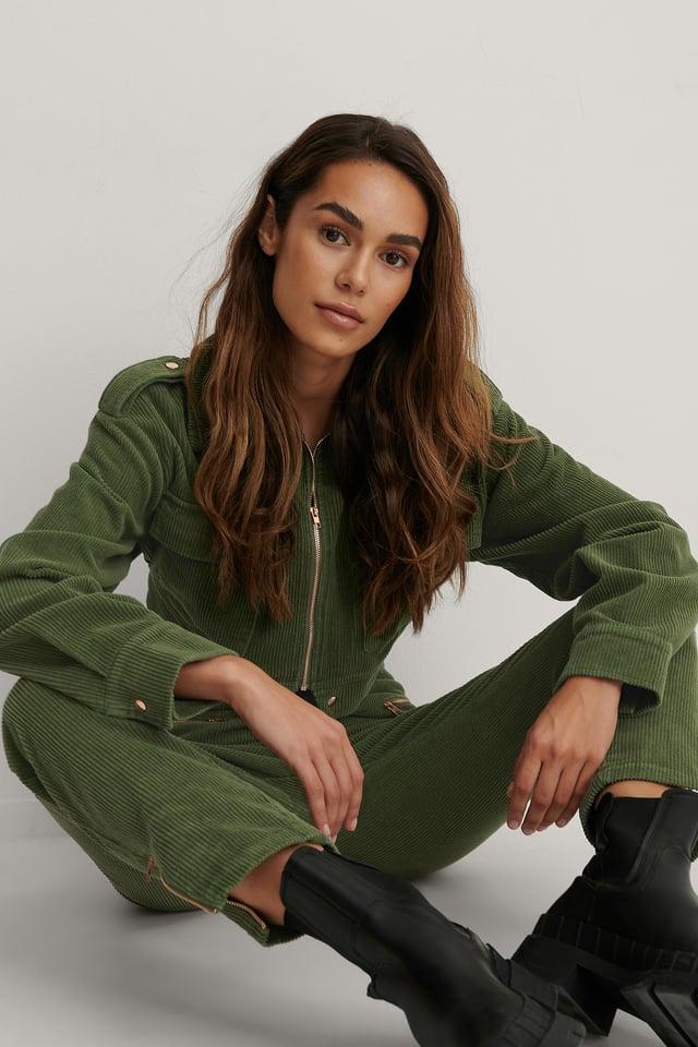 Army Green Veste À Détails Sur Les Épaules