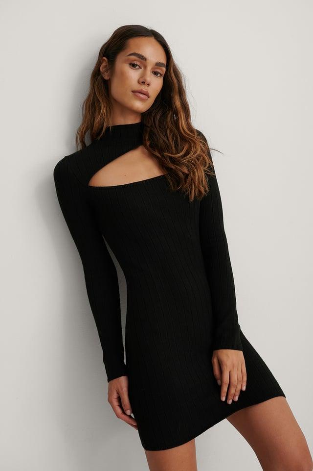 Recyclée Mini Robe Découpée Black