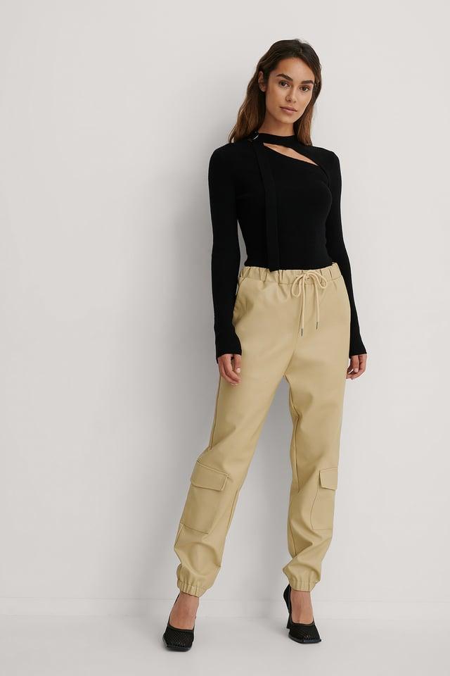 Beige Pantalon Faux Cuir