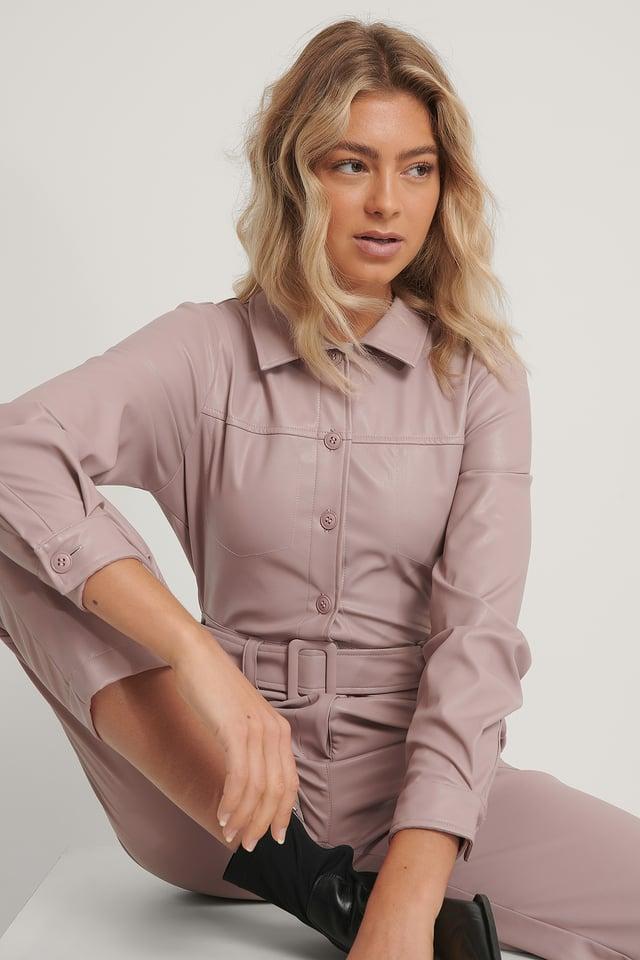 Old Pink Combinaison Pantalon En Faux Cuir