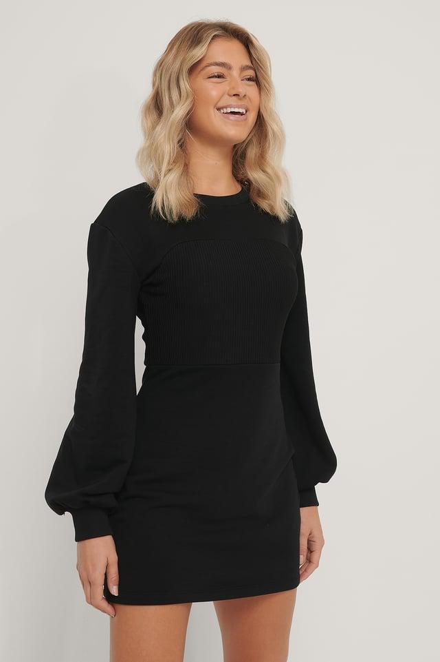 Robe Manches Longues En Jersey Côtelé Black