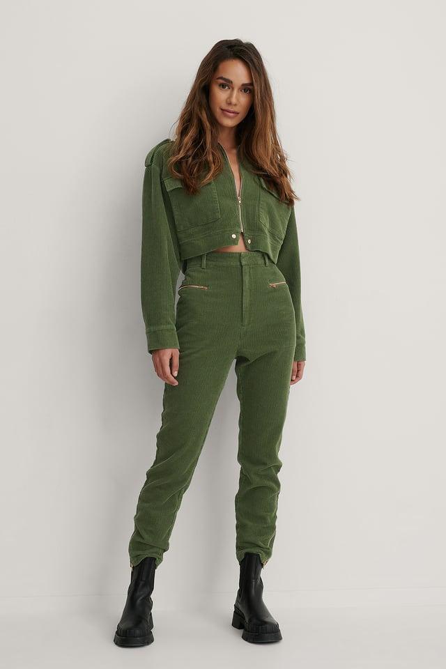 Army Green Pantalon À Fermeture Éclair
