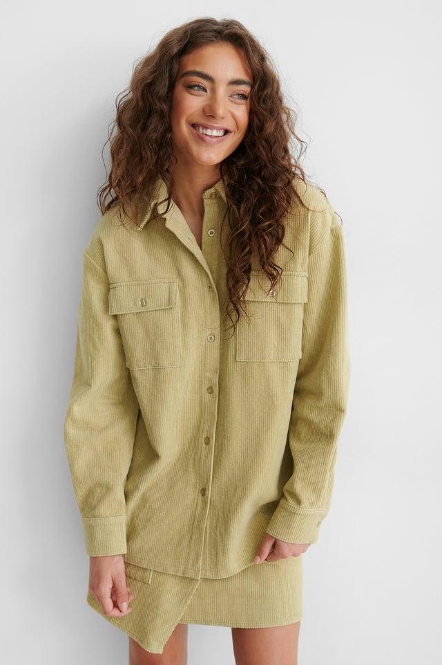 Beige/Khaki Chemise Boutonnée Avec Poche Avant