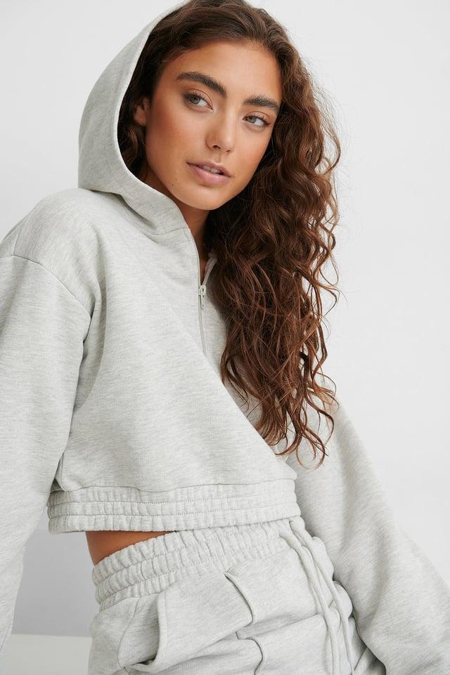 Grey Sweatshirt Zippé
