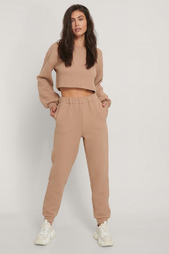 Beige Pantalon De Survêtement Taille Haute