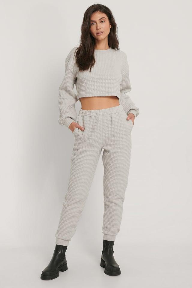 Pantalon De Survêtement Taille Haute Light Grey