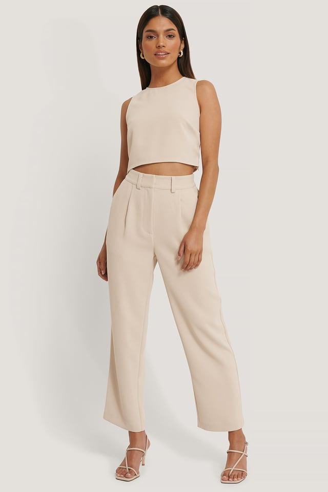 Pantalon De Costume Taille Haute Beige