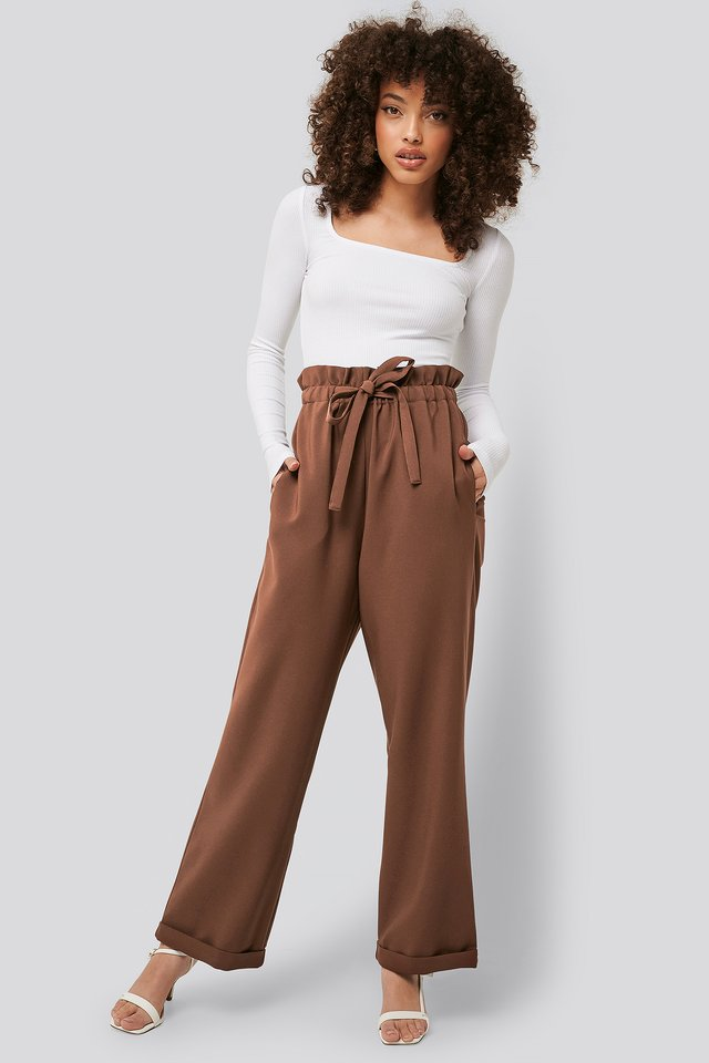 Pantalons Taille Haute Brown