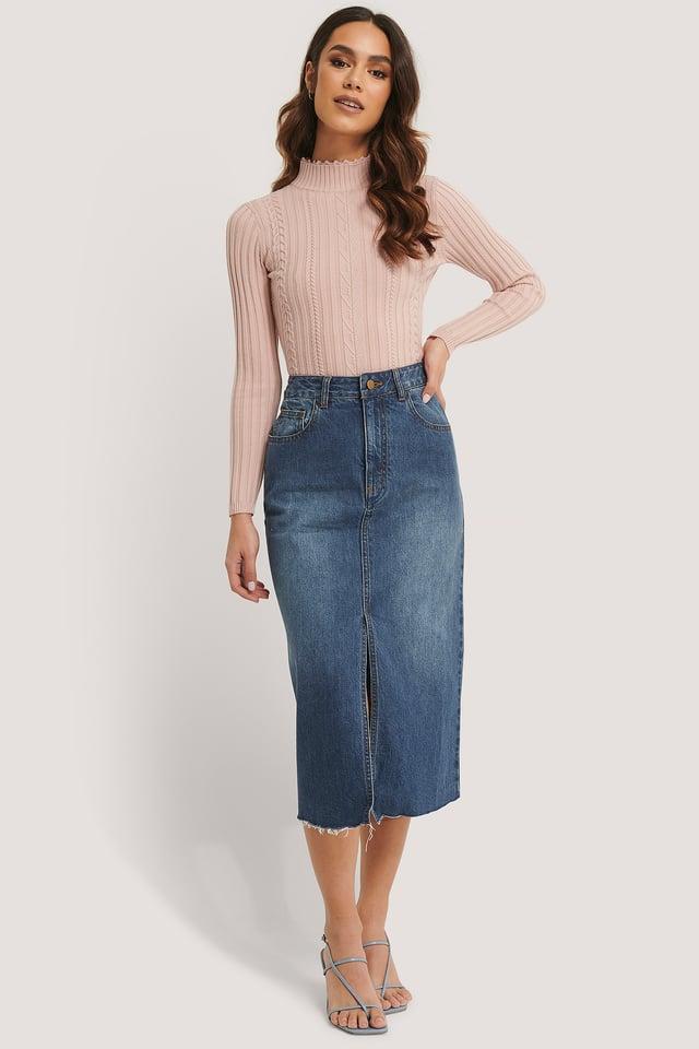Blue Denim Jupe Mi-Longue En Jean