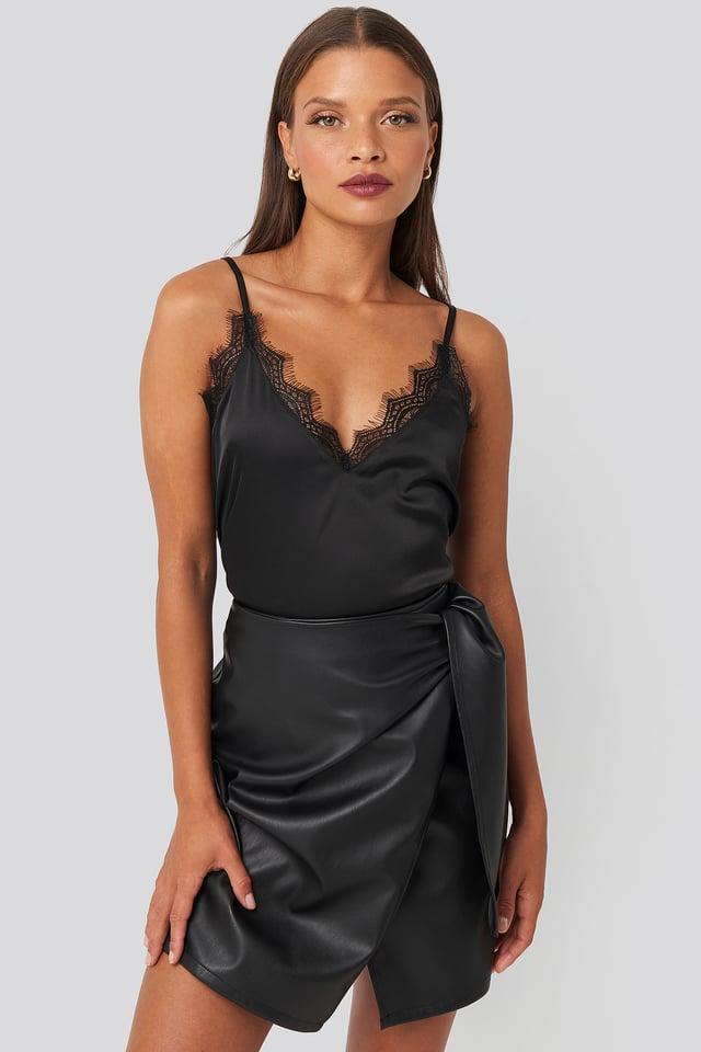 Black Tied Waist PU Skirt