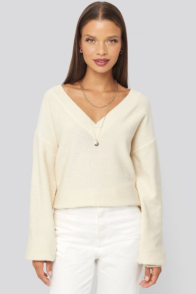 Off White V-Neck Oversized Sweater
