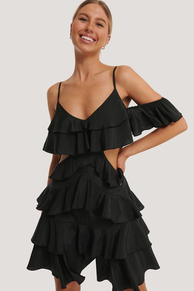 Robe Mini À Volants Black