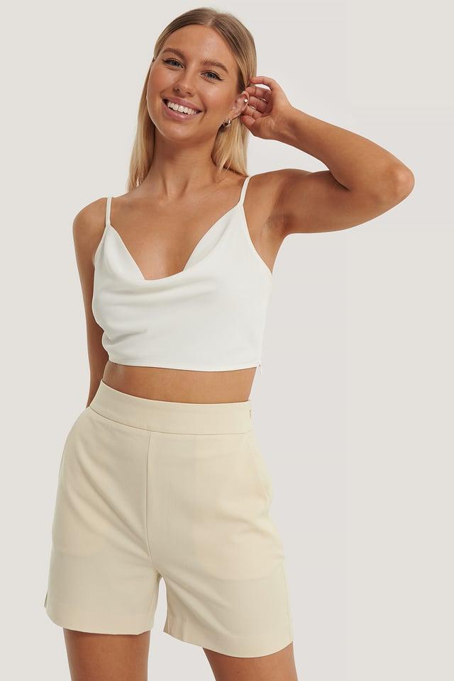 Beige Shorts Taille Haute