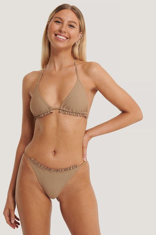 Taupe Culotte De Bikini À Volants