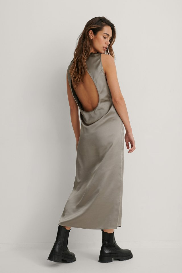 Dark Grey Robe Midi Dos Ouvert