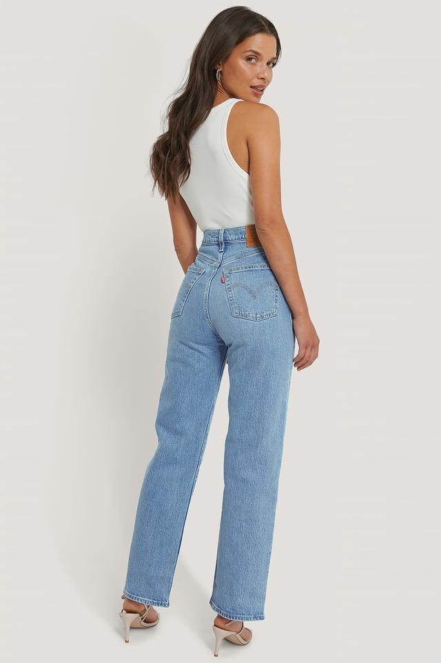 Pantalon Droit Taille Haute Longueur Cheville Light Indigo - Worn In