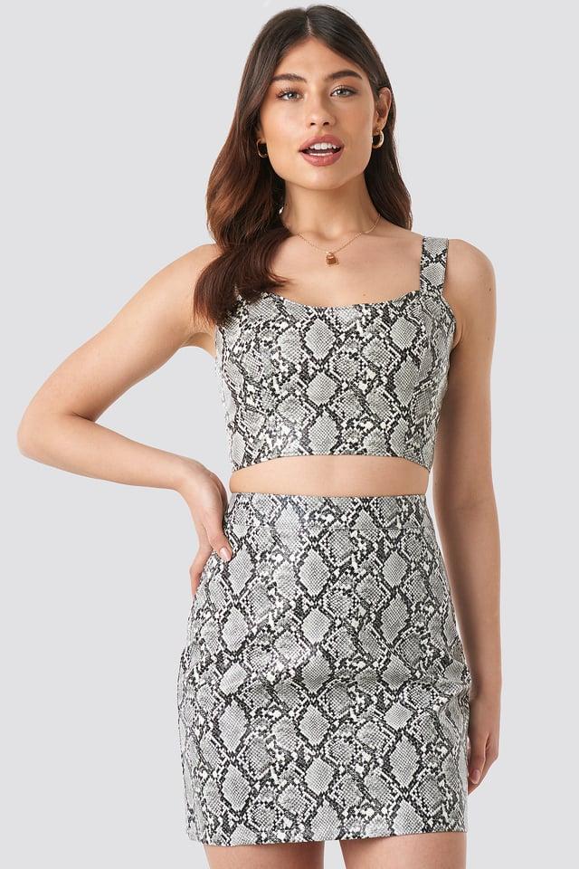 Snake Snake Printed PU Mini Skirt