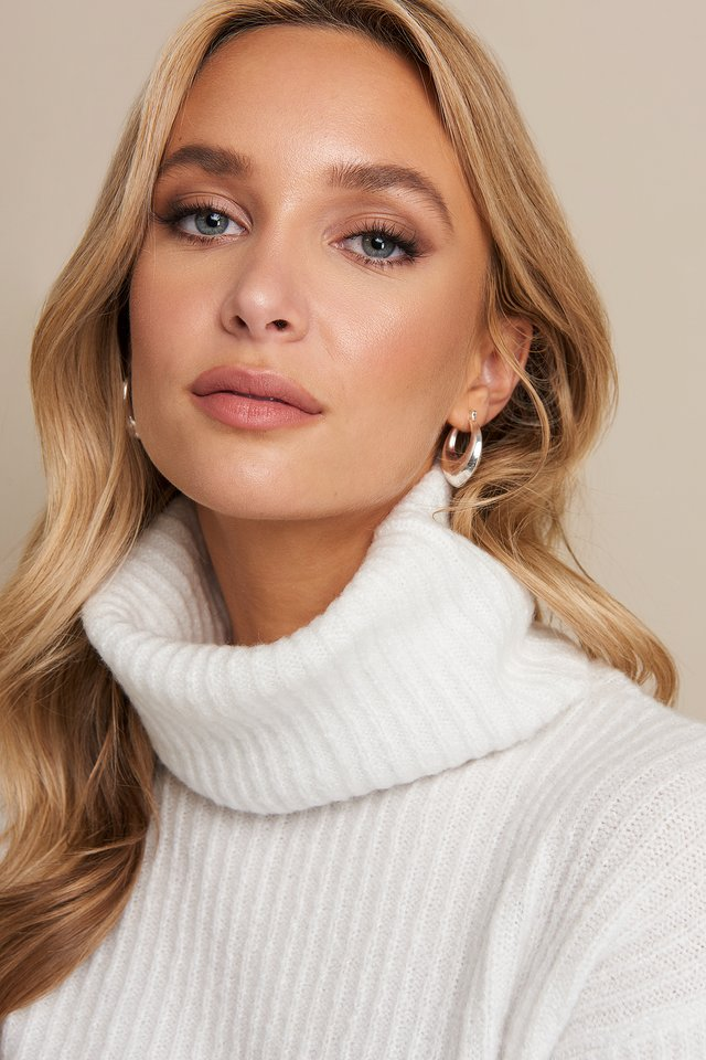 Off White High Neck Cropped Sweater