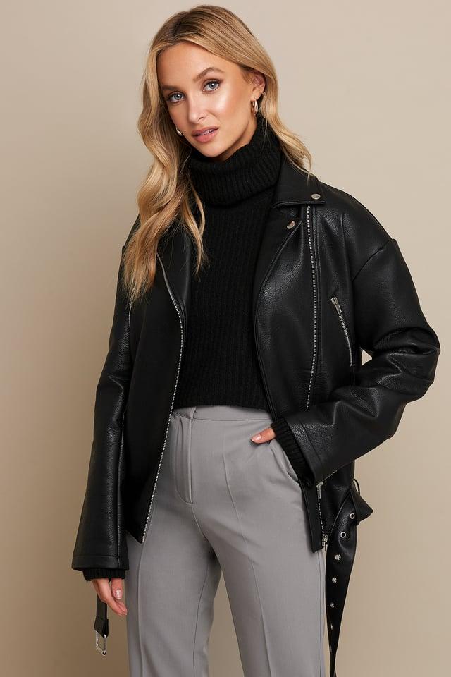PU Oversized Jacket Black