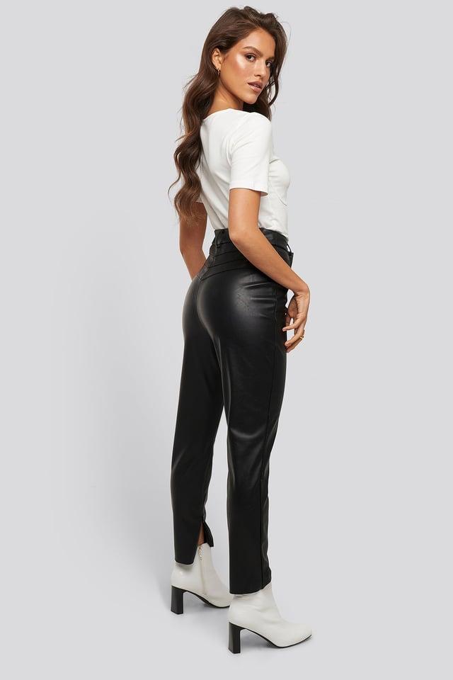 Black Lo Detailed PU Pants