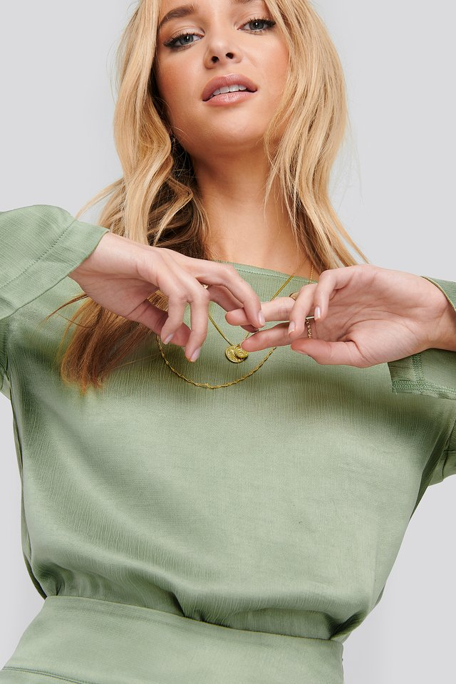 Green Long Sleeve Side Slits Tunic