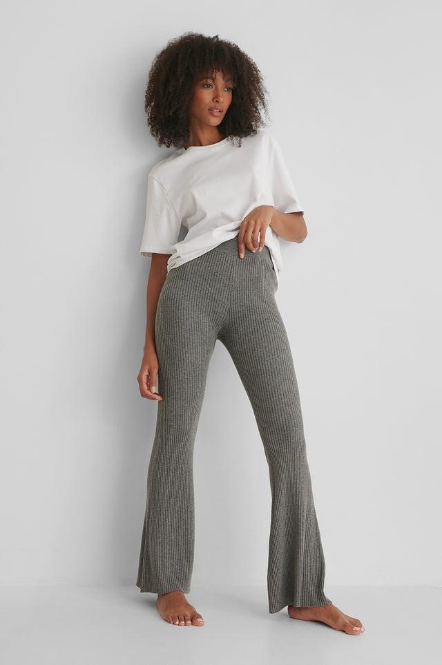 Recyclé Pantalon Évasé Grey
