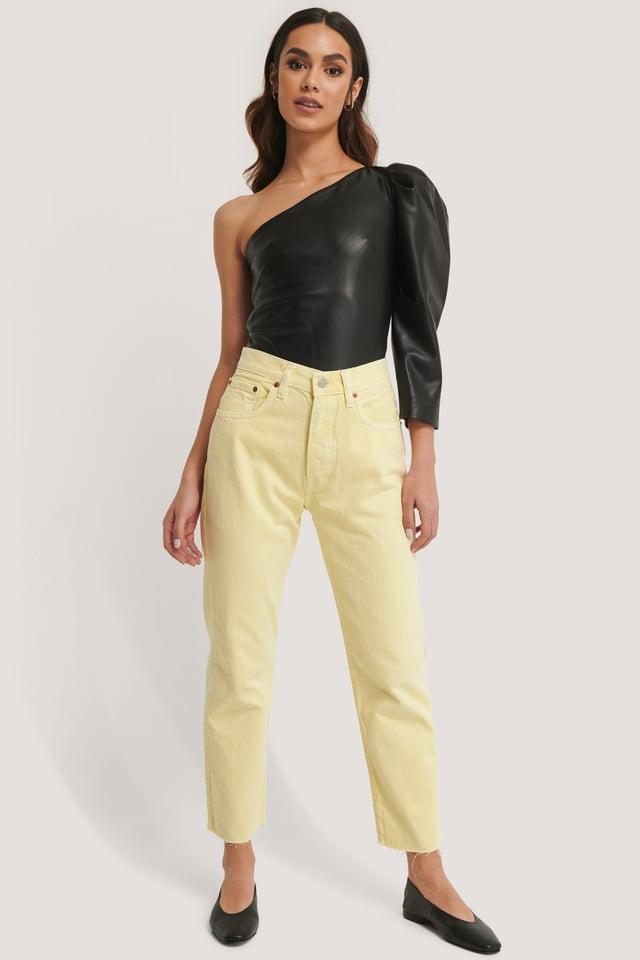 Pastel Yellow Jean Coupe Droite