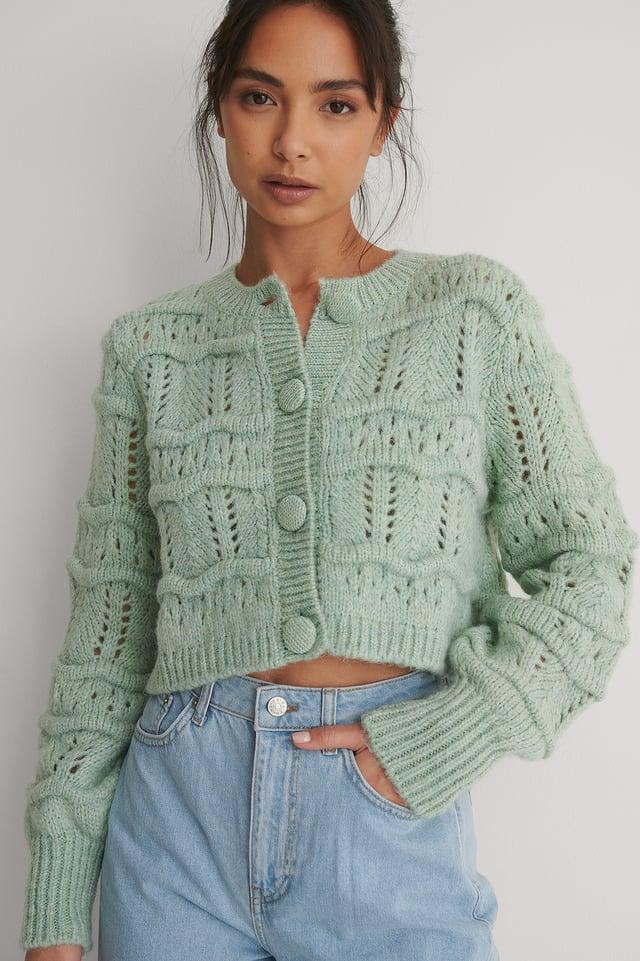 Turquoise Cardigan Tricot