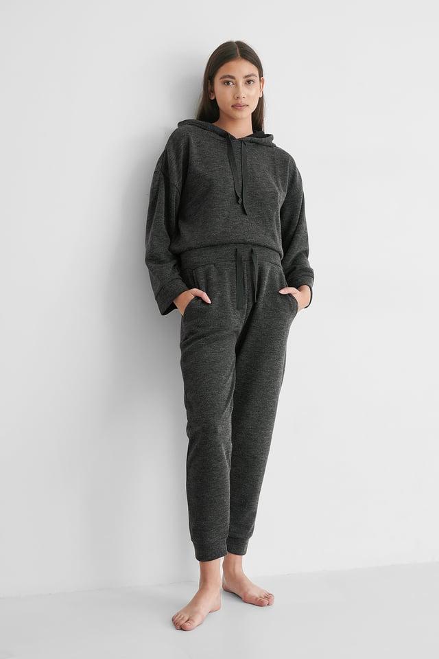 Dark Grey Pantalon Taille Haute