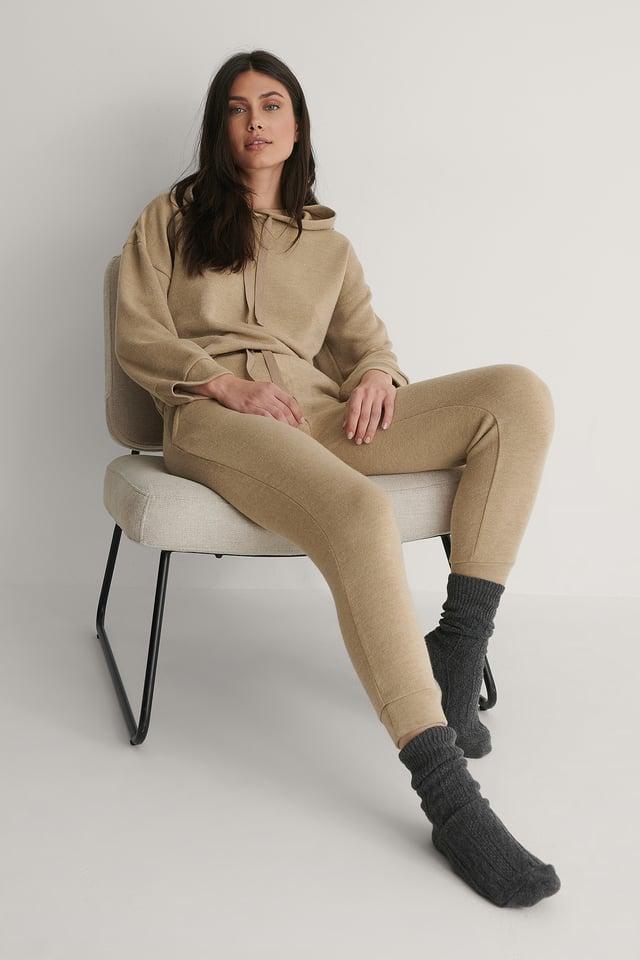 Medium grey Pantalon Taille Haute