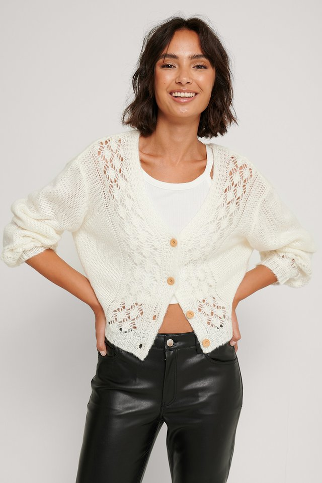 Offwhite Cardigan Court En Tricot