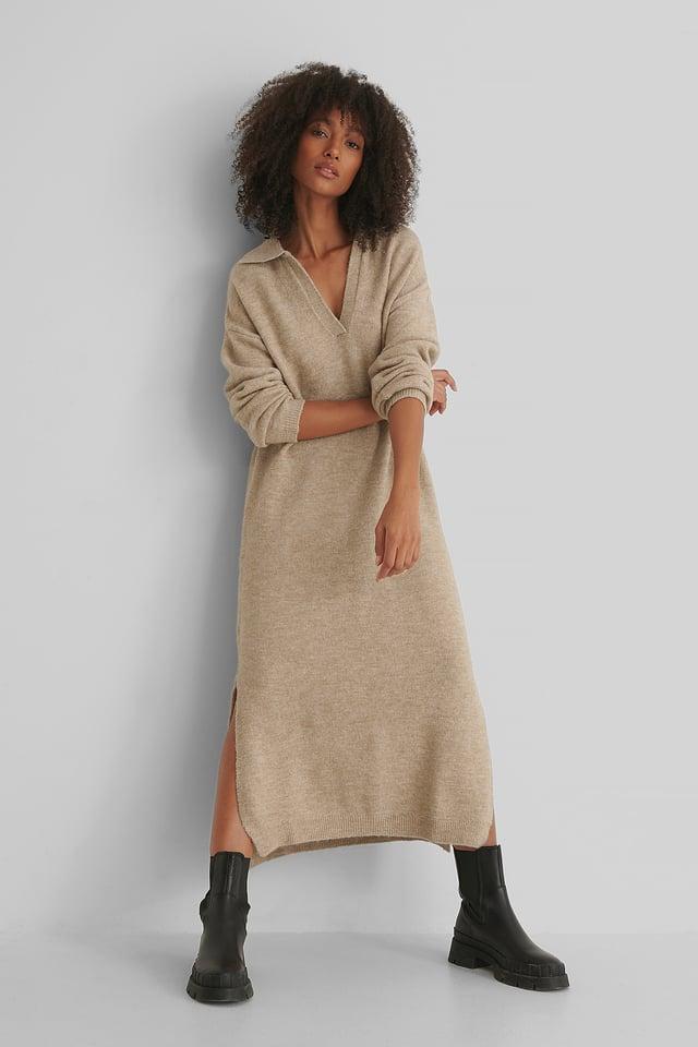 Robe Tricotée Camel