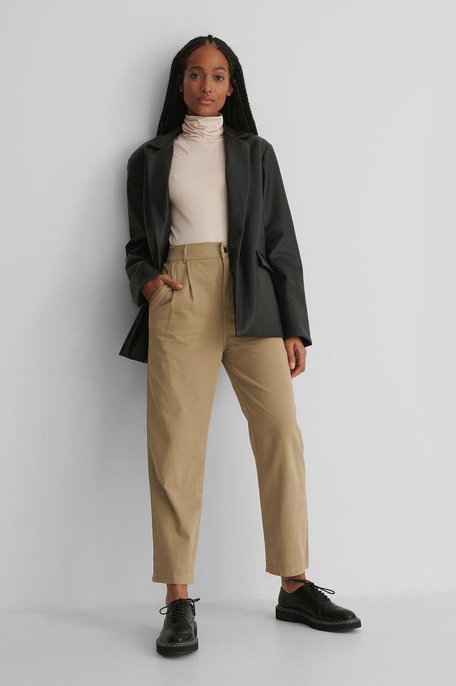 Pantalon Taille Haute Sand