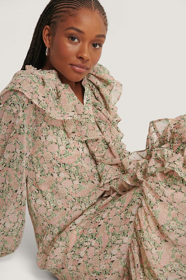 Light Pink Robe À Imprimé Floral