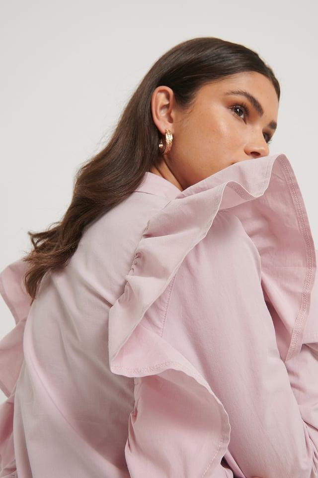 Chemise À Épaules Volantées Dusty Pink