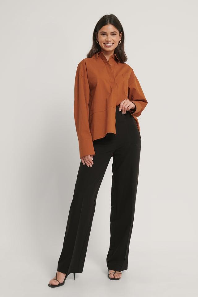 Pantalon Large À Poches Latérales Black