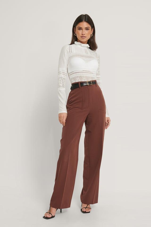 Pantalon Large À Poches Latérales Cinnamon