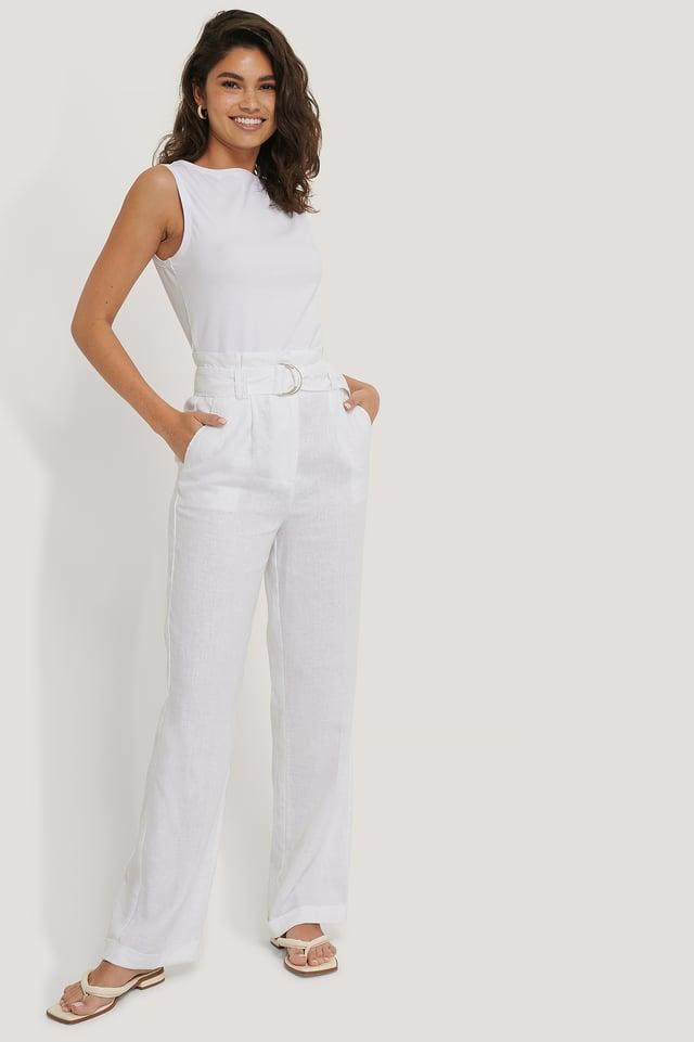 Pantalon Taille Paperbag White