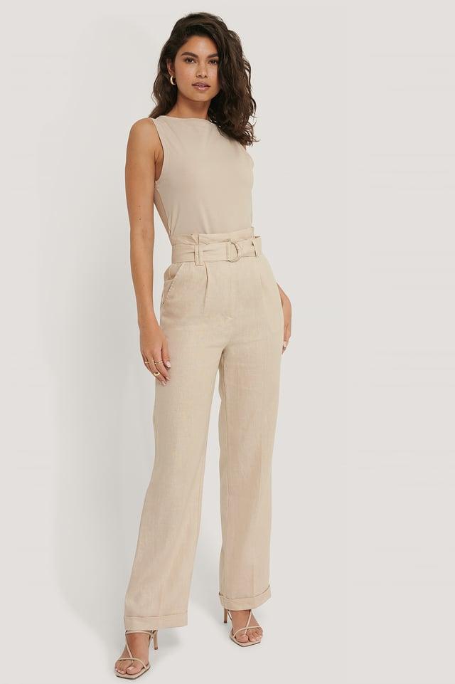 Pantalon Taille Paperbag Beige