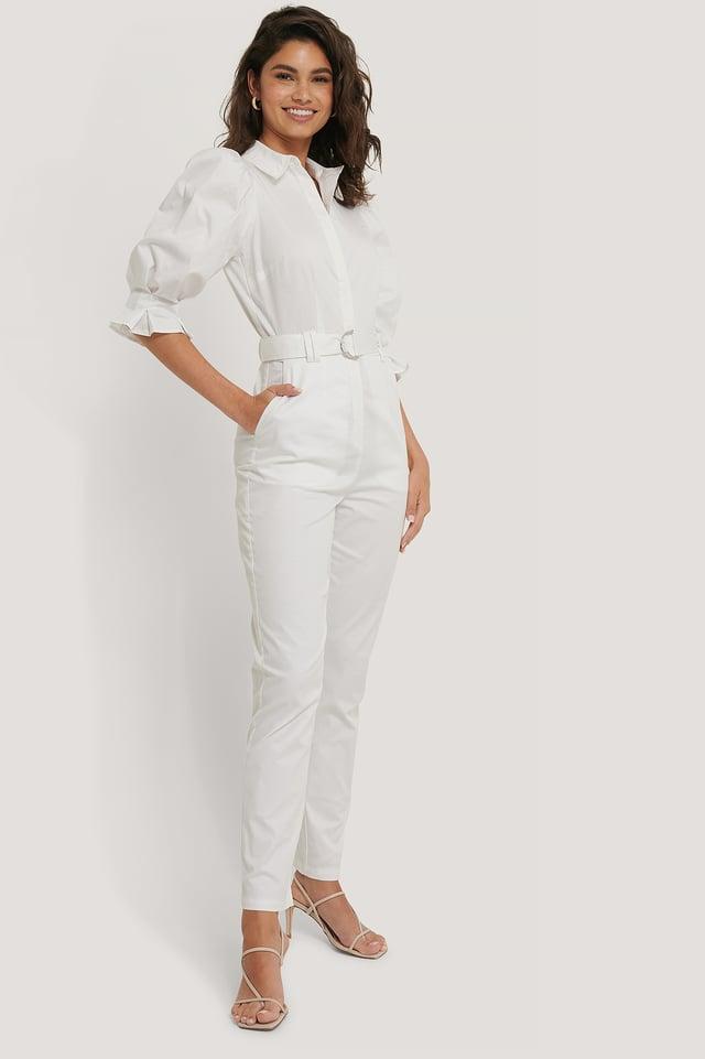 White Combinaison Pantalon Ceinturée Manches Bouffantes