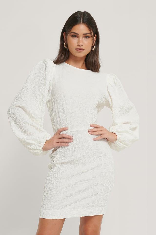 Robe Structurée À Manches Volume White