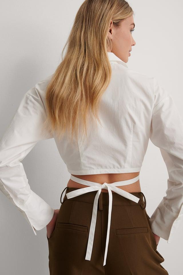 White Chemise Nouée À La Taille