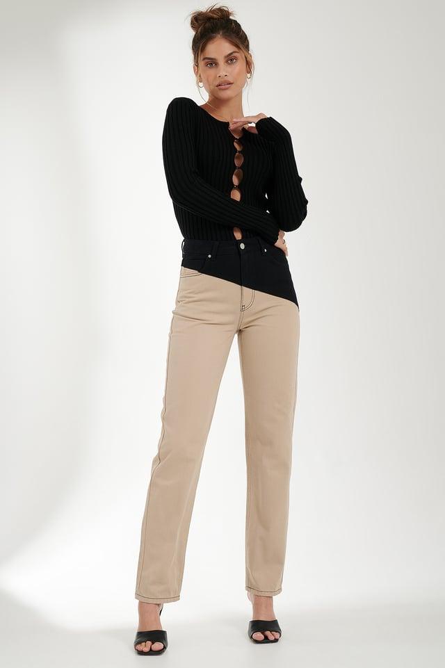 Pantalon Denim Black/Beige